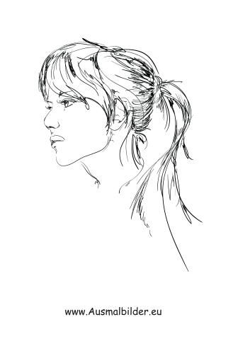 Ausmalbilder Frau mit langen Haaren - Gesichter und Frisuren Malvorlagen
