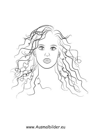 Ausmalbilder Frau mit langen Locken - Gesichter und Frisuren Malvorlagen