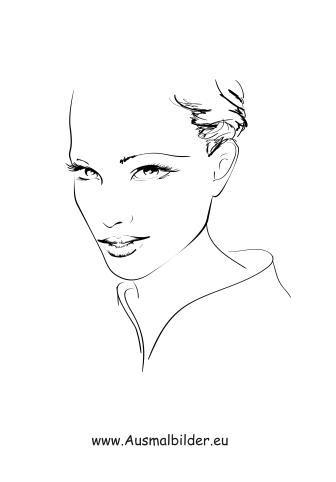 Ausmalbilder Frauen Gesicht - Gesichter und Frisuren Malvorlagen
