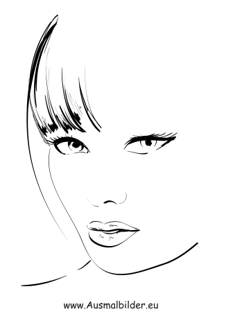 Ausmalbilder gesicht gesichter und frisuren malvorlagen - Coloriage top model visage ...