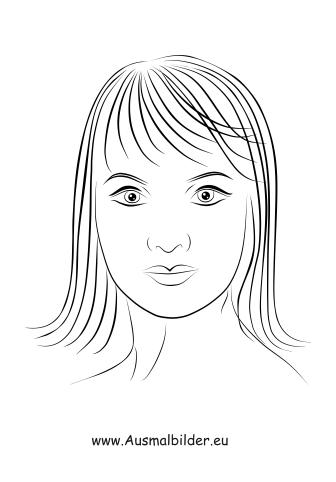 Ausmalbilder Pagenkopf - Gesichter und Frisuren Malvorlagen