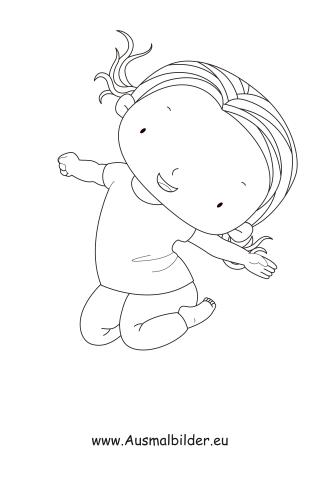 ausmalbild hüpfendes kind kostenlos ausdrucken