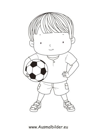 Ausmalbilder Junge mit Fussball - Kinder Malvorlagen