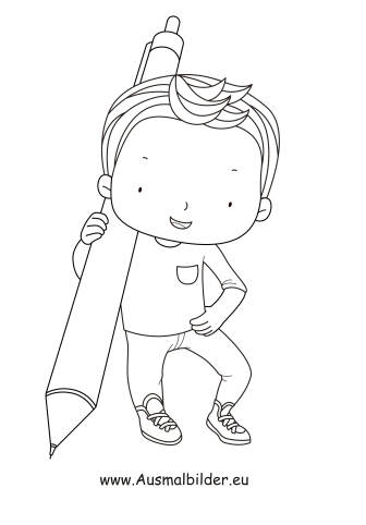 Ausmalbilder Junge mit Kugelschreiber als pdf ausdrucken