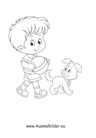 Ausmalbilder Junge spielt mit Hund Ball - Kinder Malvorlagen