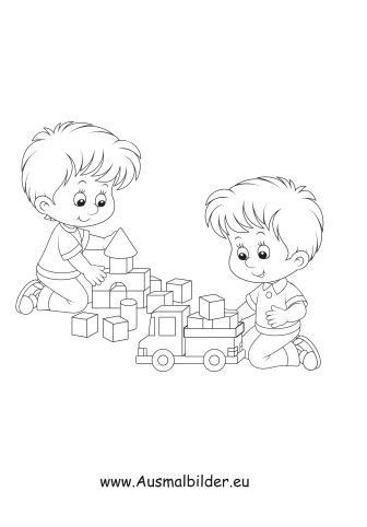 Ausmalbilder Jungen Spielen Mit Bauklötzen Kinder Malvorlagen