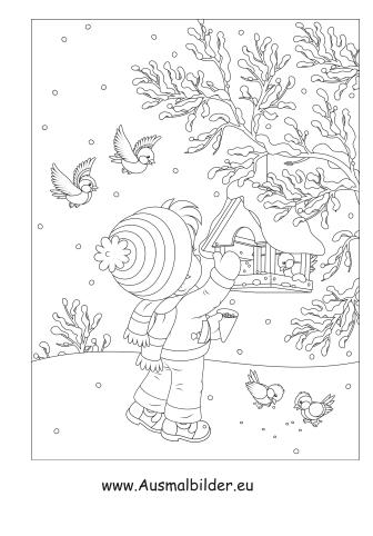 Ausmalbilder Kind beim Vogelfüttern als pdf ausdrucken