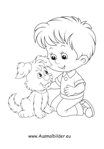 ausmalbild kind mit hund kostenlos ausdrucken