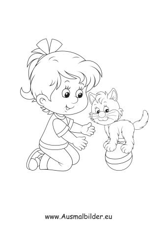 Ausmalbilder Kind Mit Katze Kinder Malvorlagen