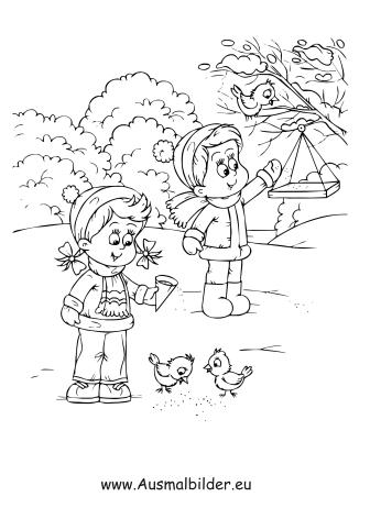 ausmalbild kinder füttern vögel kostenlos ausdrucken
