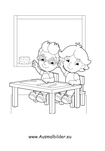 ausmalbild kinder in der schule kostenlos ausdrucken