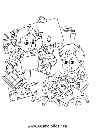Ausmalbilder Kinder malen - Kinder Malvorlagen