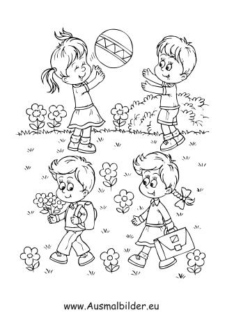 Ausmalbilder Kinder Spielen Im Garten Kinder Malvorlagen