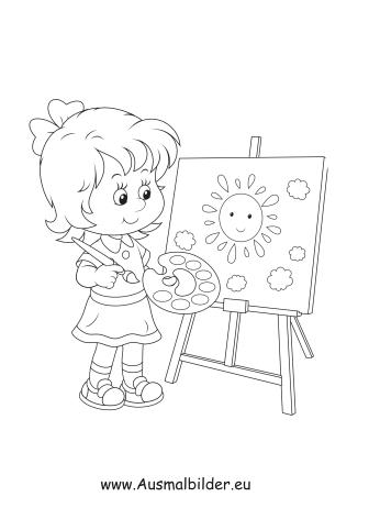 Ausmalbilder Mädchen malt - Kinder Malvorlagen