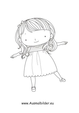 Ausmalbilder Tanzendes Mädchen - Kinder Malvorlagen
