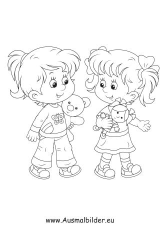 ausmalbild zwei freundinnen kostenlos ausdrucken