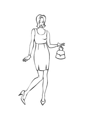 ausmalbilder model mit kleid und handtasche - models malvorlagen