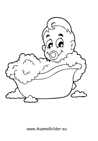 Ausmalbilder Badendes Baby Menschen Malvorlagen