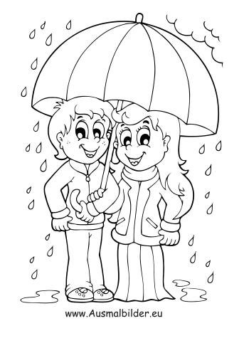 Ausmalbilder Kinder Mit Regenschirm Menschen Malvorlagen