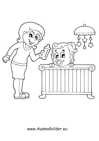 Ausmalbilder Mutter mit Baby - Menschen Malvorlagen