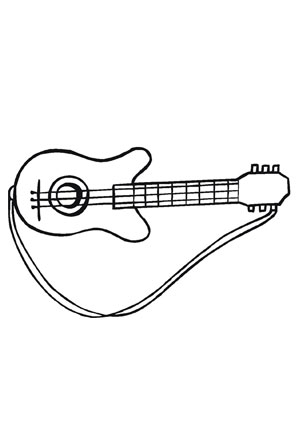 Ausmalbild Gitarre kostenlos ausdrucken