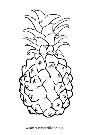 ausmalbilder ananas  obst und gemüse malvorlagen