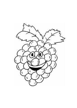 Ausmalbilder Lachende Weintraube - Obst und Gemüse Malvorlagen