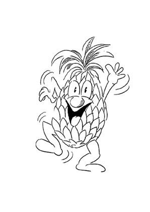 ausmalbilder tanzende ananas obst und gem se malvorlagen
