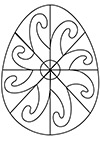 Ausmalbild Osterei bunte Spiralen