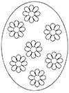 Ausmalbild Osterei mit 7 Blüten