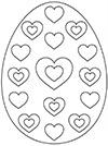 Ausmalbild Osterei mit Herzen