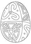 Ausmalbild Osterei mit bunten Formen