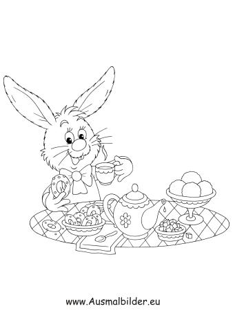 Ausmalbilder Osterhase beim Osterfrühstück - Osterhasen Malvorlagen