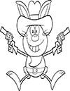 Ausmalbild Osterhase als Cowboy