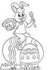 Ausmalbild Osterhase bemalt Eier