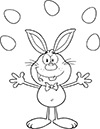 Ausmalbild Osterhase jongliert