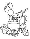 Ausmalbild Osterhase mit Eiern