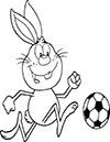 Ausmalbild Osterhase spielt Fußball