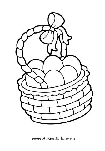 ausmalbilder ostereier im korb - ostern malvorlagen