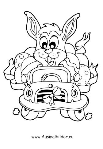 Ausmalbilder Osterhase im Auto - Ostern Malvorlagen