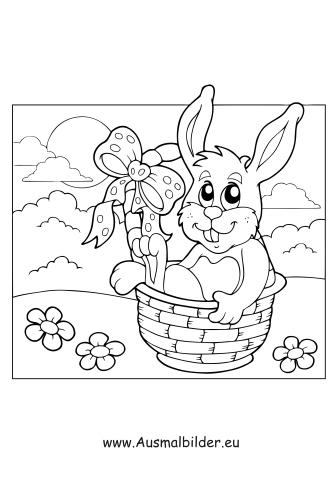 Ausmalbilder Osterhase im Osterkorb - Ostern Malvorlagen