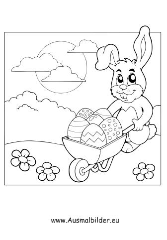 Ausmalbilder Osterhase mit Schubkarre - Ostern Malvorlagen