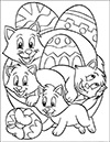 Ausmalbild Ostereier mit Katzen