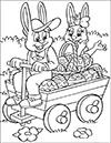 Ausmalbild Osterhase im Leiterwagen