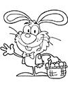 Ausmalbild Osterhase mit einem Osterkorb