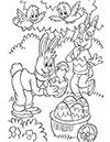 Ausmalbild Osterhasen spielen