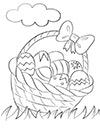 Ausmalbild Osterkorb mit Eiern
