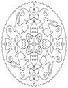 Ausmalbild Ostermandala mit Hasen