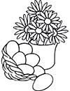Ausmalbild Osternest mit Blumen