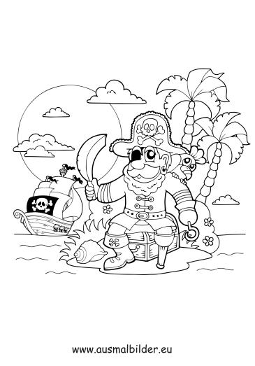 ausmalbilder pirat auf einer insel  piraten malvorlagen